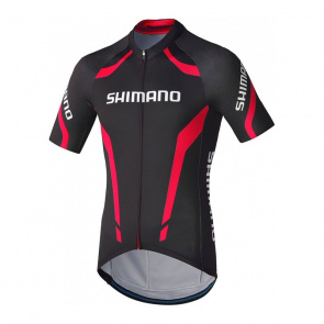 Shimano Bike Gear Maillot Manches Courtes Shimano Performance Print Noir/Rouge