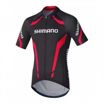 Maillot Manches Courtes Shimano Performance Print Noir/Rouge