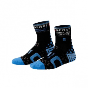 Compressport Chaussettes de Compression Compressport Bike Winter Noir/Bleu