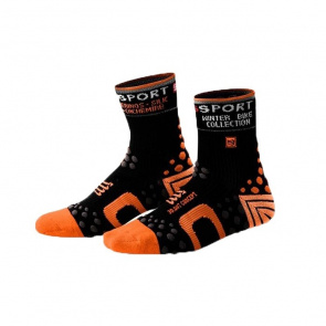 Compressport Chaussettes de Compression Compressport Bike Winter Noir/Orange