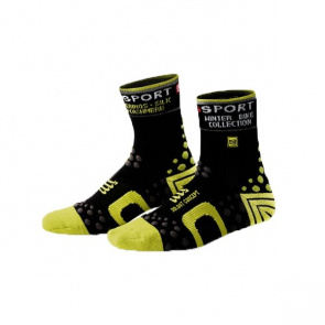 Compressport Chaussettes de Compression Compressport Bike Winter Noir/Vert
