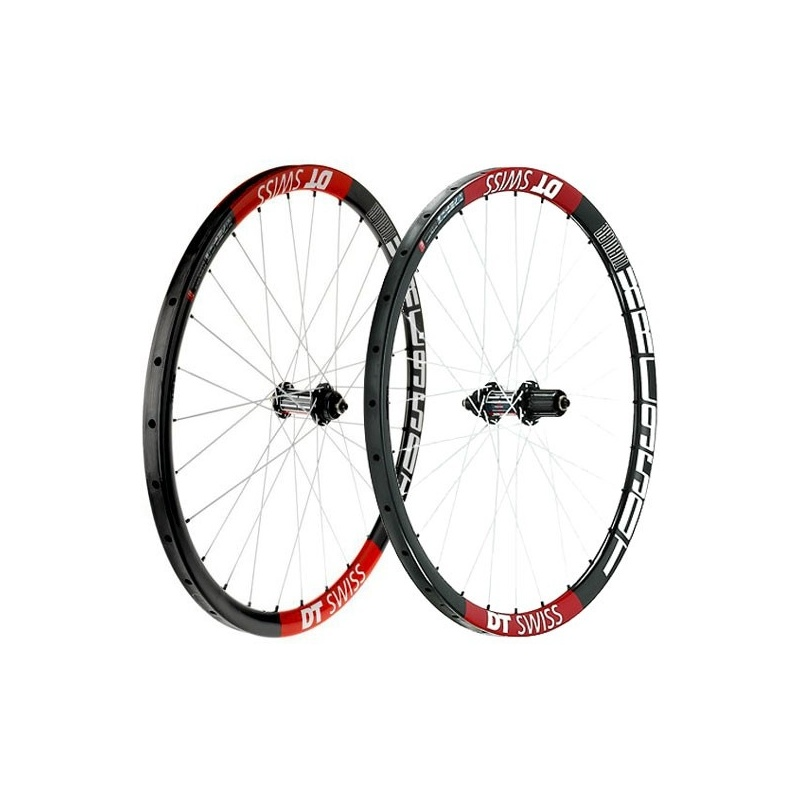 """Paire de Roues 26"""" DT Swiss XRC 950 CL Boyaux Carbon/Blanc/Rouge"""