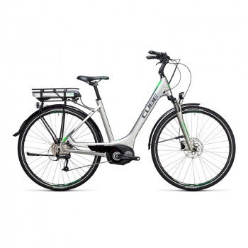 Vélo Electrique Cube Touring Hybrid One 400 Easy Entry Argent/Vert 2017