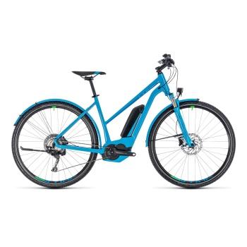 Vélo Electrique Cube Cross Hybrid Race Allroad 500 Trapèze Bleu/Vert 2018