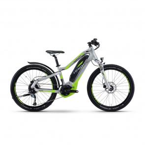 """Haibike - Promo SDuro HardFour Street 4.5 400 24"""" Elektrische MTB voor Kinderen Zilver/Groen"""