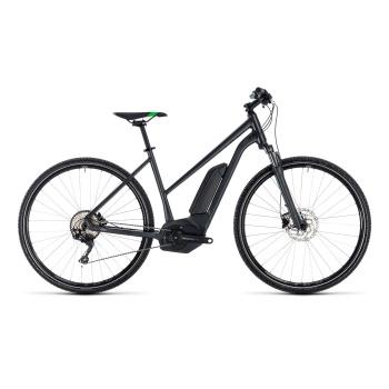 Vélo Electrique Cube Cross Hybrid Pro 400 Trapèze Gris/Vert 2018