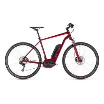 Vélo Electrique Cube Cross Hybrid Pro 500 Rouge Foncé 2018
