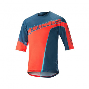Alpinestars Maillot Manches 3/4 Alpinestars Crest Bleu Posseidon/Orange Energy 2018