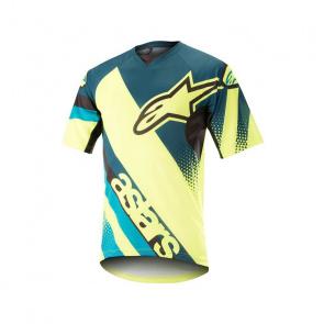 Alpinestars Alpinestars Racer Shirt met Korte Mouwen Petrol/Fluo Geel 2018