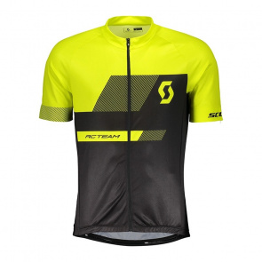 Scott textile Scott RC Team 10 Shirt met Korte Mouwen Zwart/Sulphur Geel 2018