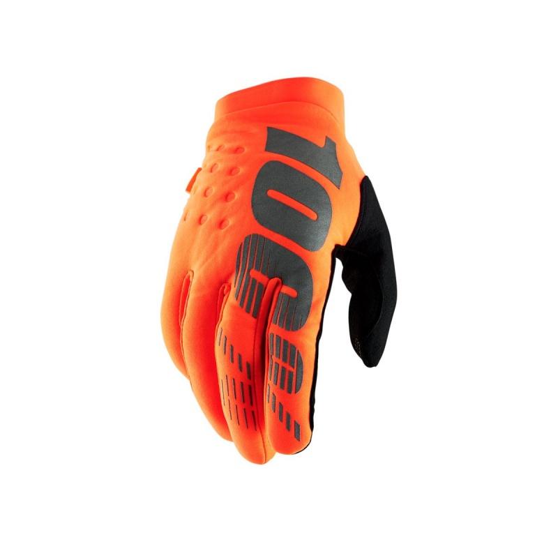 Gants 100% Brisker Orange Fluo/Noir 2020