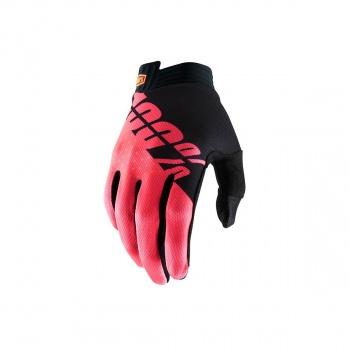 100% iTrack Handschoenen Zwart/Fluo Rood 2019