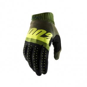 100% 100% Ridefit Handschoenen Kaki Groen/Fluo Geel 2019