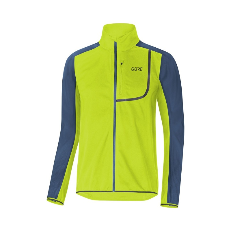 Gore Wear C3 Windstopper Jas Citrus Groen/Deep Water Blauw 2019