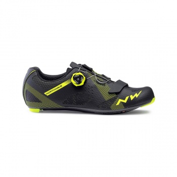 Chaussures Route Northwave Storm Carbone Noir/Jaune Fluo 2019