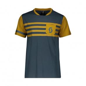 Scott textile Scott Trail Flow Dri Shirt met Korte Mouwen Nightfall Blauw/Oker Geel 2019