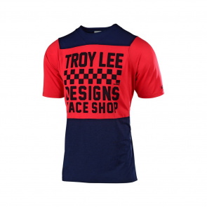 Troy Lee Designs Maillot Manches Courtes Troy Lee Designs Skyline Checkers Bleu Marine/Rouge 2019