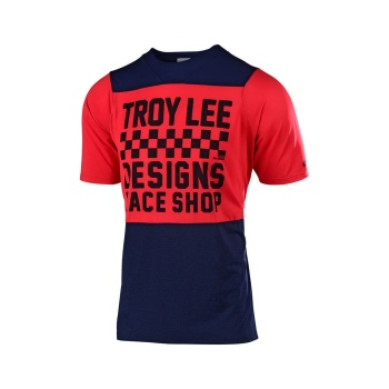 Maillot Manches Courtes Troy Lee Designs Skyline Checkers Bleu Marine/Rouge 2019
