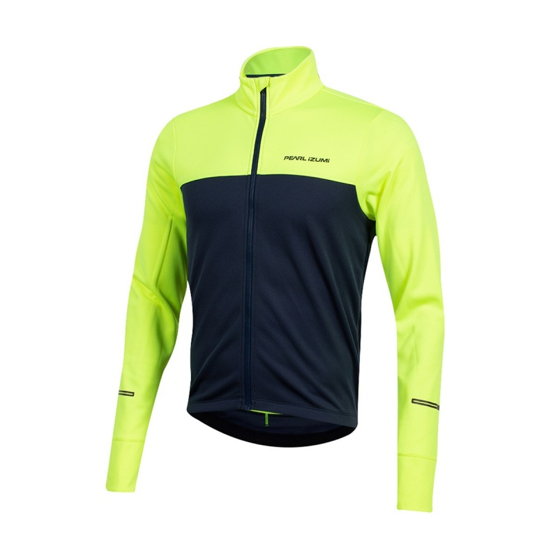 Maillot Manches Longues Pearl Izumi Quest Thermal Jaune Screaming/Bleu Marine 2019-2020