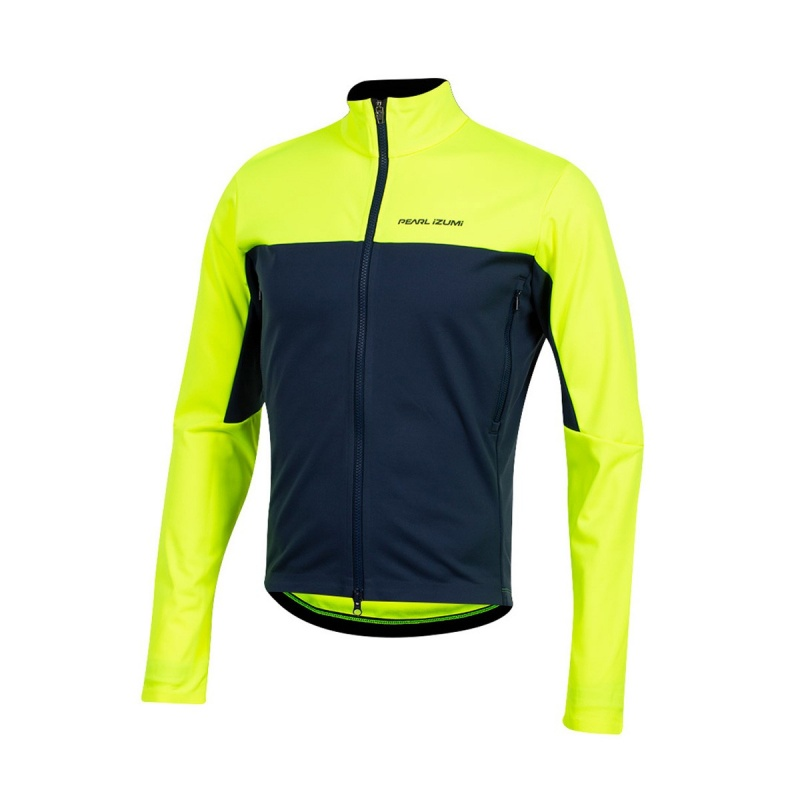 Veste Pearl Izumi Interval Amfib Jaune Screaming/Bleu Marine 2019-2020