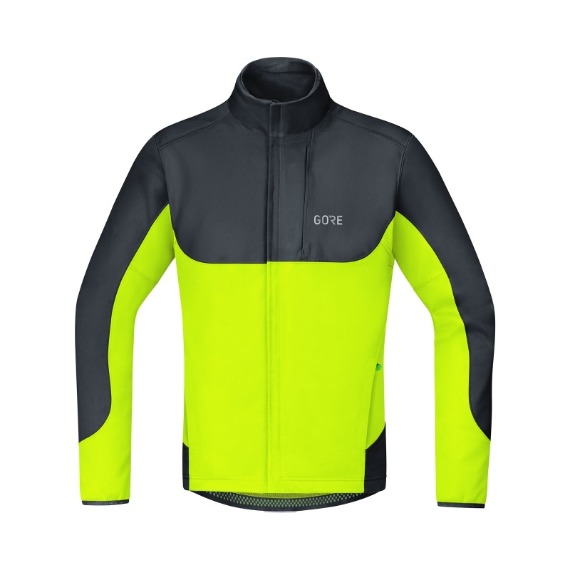 Gore Wear C5 Windstopper Thermo Trail Jas Zwart/Neon Geel 2019-2021