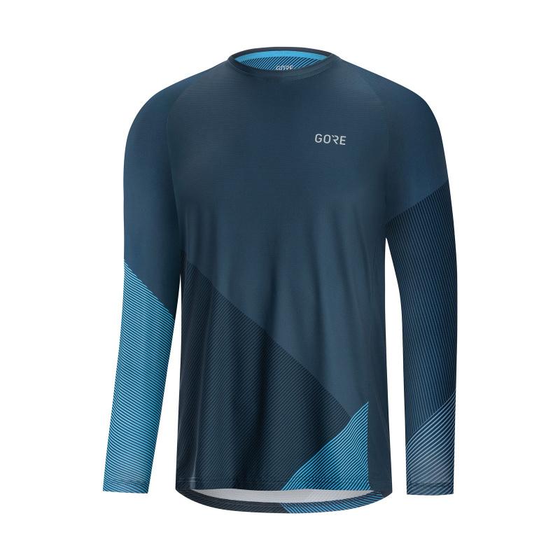Maillot Manches Longues Gore Wear C5 Trail Bleu/Cyan 2020