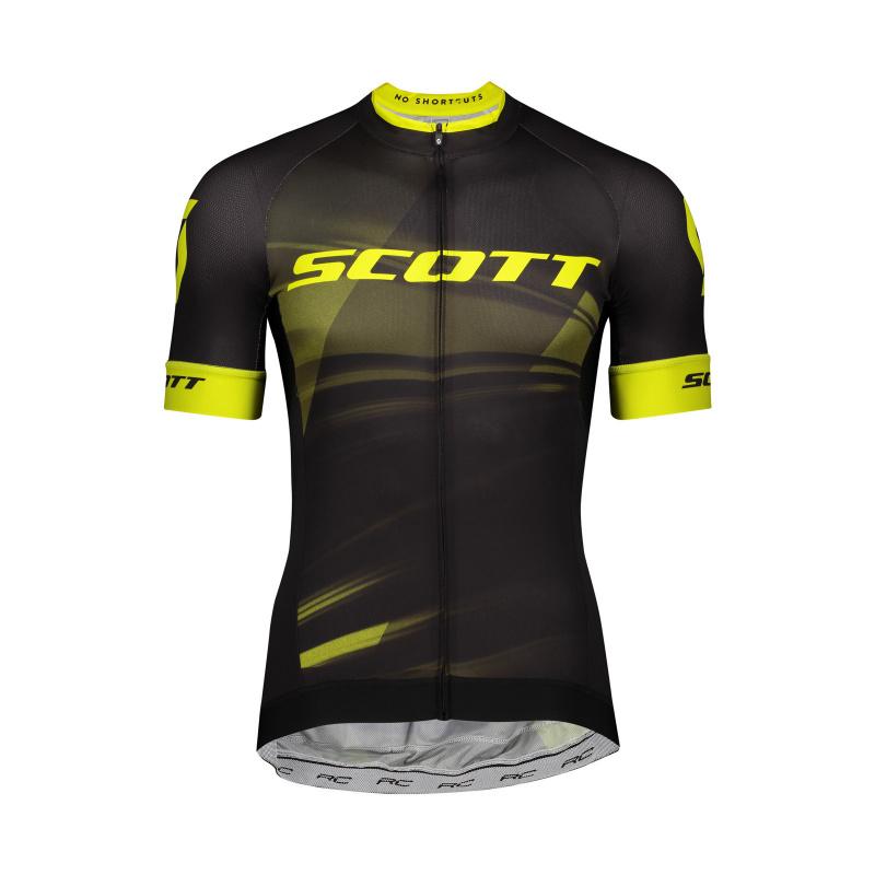 Scott RC Pro Shirt met Korte Mouwen Zwart/Geel 2020