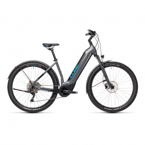"""Vélo Electrique 29"""" Cube Nuride Hybrid Pro Allroad 625 Easy Entry Gris/Bleu 2021 (432762)"""