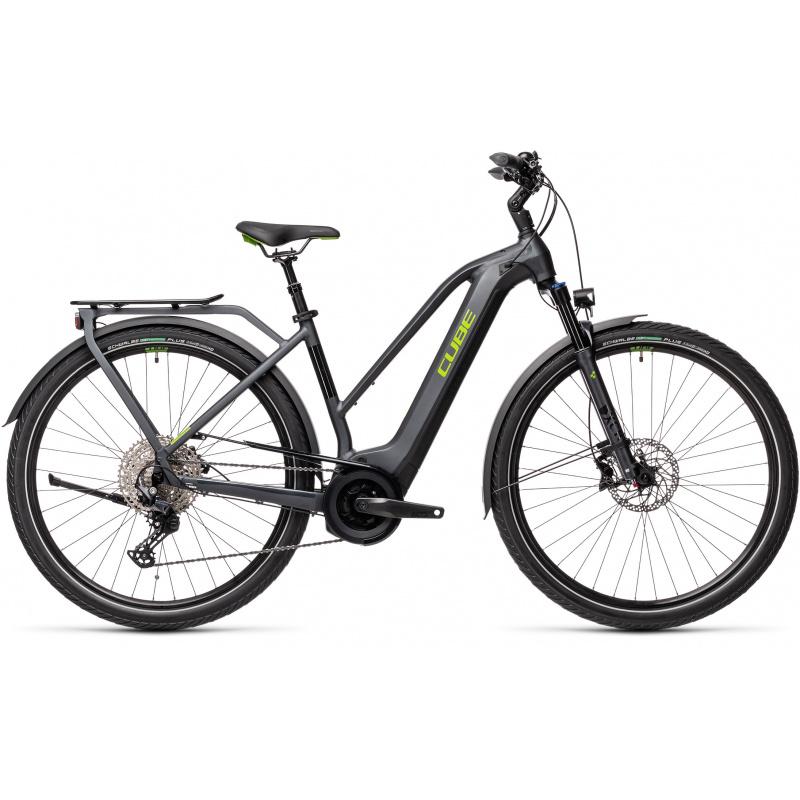 Vélo Electrique Cube Touring Hybrid EXC 625 Trapèze Iridium/Vert 2021 (431152)