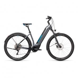 """Cube 2021 Vélo Electrique 29"""" Cube Nuride Hybrid Pro Allroad 500 Easy Entry Gris/Bleu 2021 (432761)"""