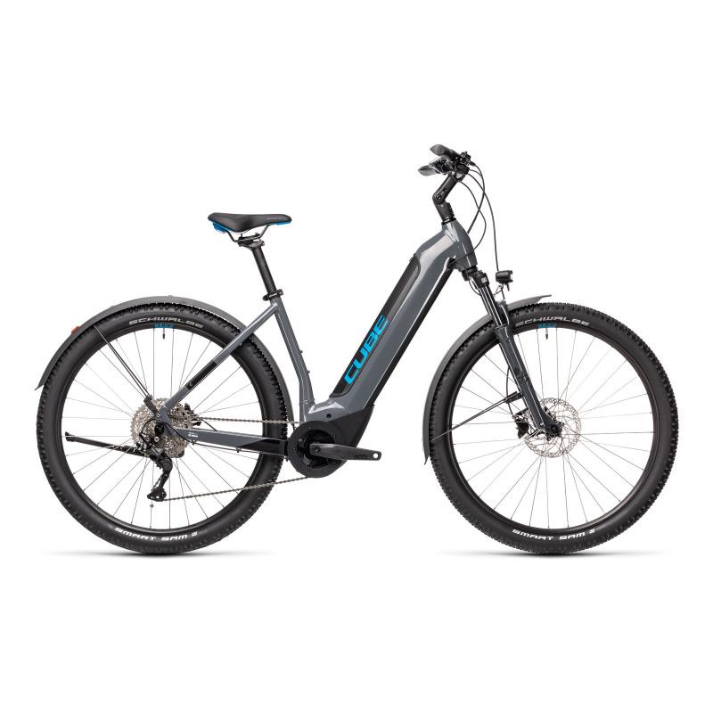 """Vélo Electrique 29"""" Cube Nuride Hybrid Pro Allroad 500 Easy Entry Gris/Bleu 2021 (432761)"""