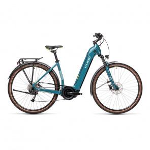 Cube 2021 Vélo Electrique Cube Touring Hybrid One 400 Easy Entry Bleu/Vert 2021