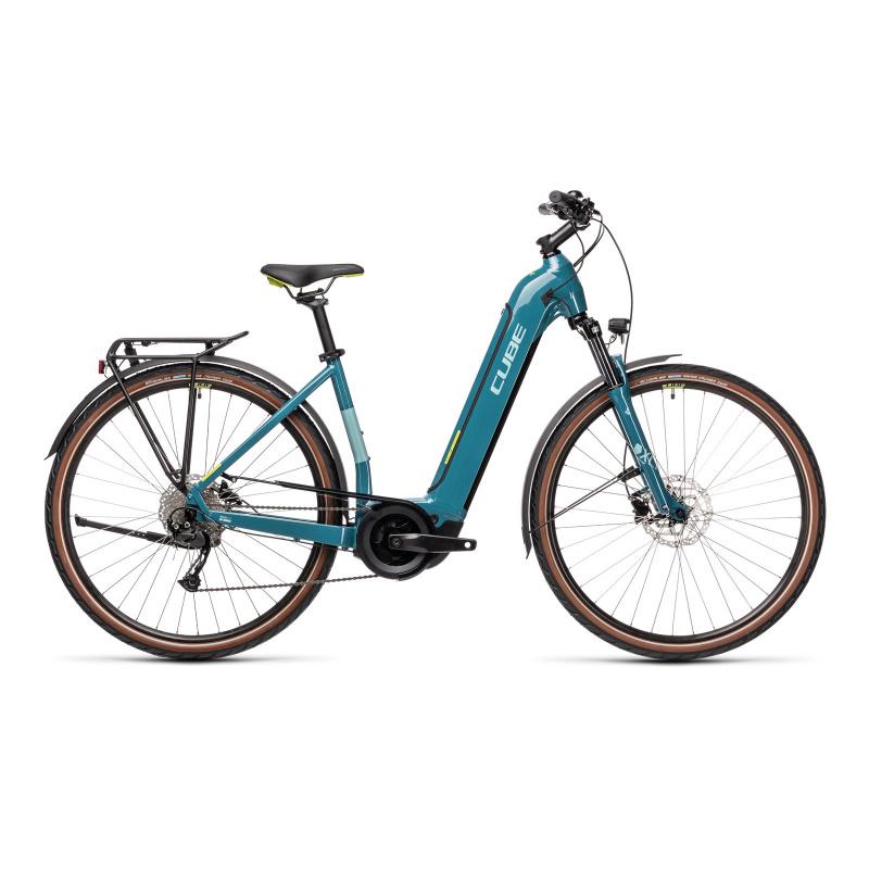 Vélo Electrique Cube Touring Hybrid One 400 Easy Entry Bleu/Vert 2021