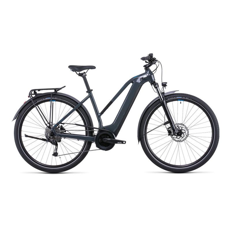 Vélo Electrique Cube Touring Hybrid One 400 Trapèze Gris/Bleu 2022 (531050)