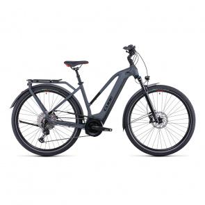 Vélo Electrique Cube Touring Hybrid EXC 500 Trapèze Gris/Rouge 2022
